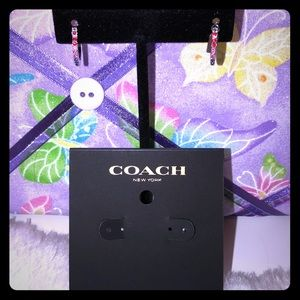 Coach Multicolored stone hoop earrings NWT